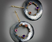 Gold and Gemstone Dotted Pebble Earrings. 14k Gold and Oxidized Sterling Silver