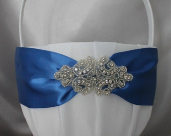 Large-  White or Ivory Flower Girl Basket-Royal Blue Sash and Rhinestone Applique-Custom Ribbon Colors-Girls Age 8+ years