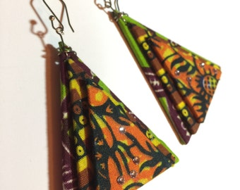African 3D Fabric Triangle Earrings w/Swarovski Crystals OOAK