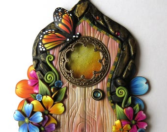 Monarch Butterfly Spring Flower Garden Fairy Door Polymer Clay Miniature