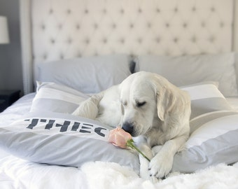 Dog Bed Cover, Cabana French Grey/White Stripes, Dog Bed Duvet Cover, Pet Bed Cover, Designer Cover, Personalization Extra