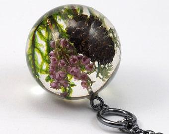 Woodland Necklace, cone, Dark Silver, Heather Necklace, Moss Necklace, Resin Necklace Resin Pendant, Moss Pendant, Resin Jewelry, Cone Resin