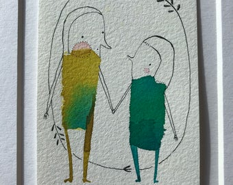 ORIGINAL Artist Trading Card mini Painting - ACEO, two people, couple, friends ,ATC whimsical watercolor by cori dantini