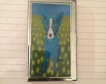 Blue Dog in Field Credit Card Case Business Card Holder