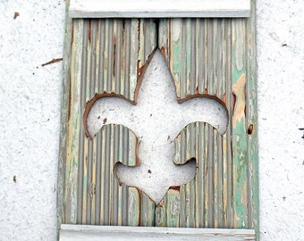Wood Fleur de Lis, Reclaimed Wood Art, New Orleans Decor, Boho Wall Art, Salvaged Wood Decor, Rustic Wood Wall Decor,