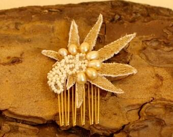 Cannabis Wedding Hair Comb- Pearl Pot Leaf