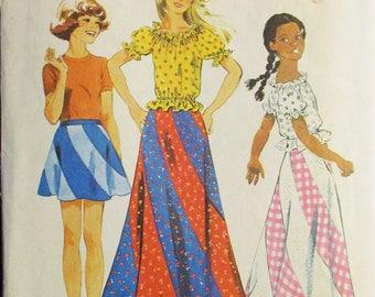 1970s Vintage Sewing Pattern Simplicity 6306 Girls Bias Swirl Skirt & Blouse Pattern Size 7