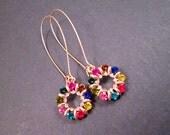Rhinestone Earrings, Rainbow Glass Stones, Long Gold Drop Earrings, FREE Shipping U.S.