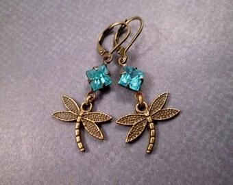 Dragonfly Earrings, Aqua Blue Glass Rhinestones, Brass Dangle Earrings, FREE Shipping U.S.