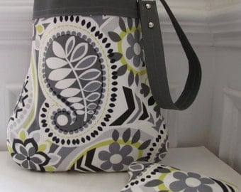 Grey Floral Paisley Handbag / Purse with Matching Coin Pouch