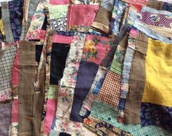 Lot Antique Thirty-Nine Crazy Patchwork Quilt Square Calico & Solid Pieces