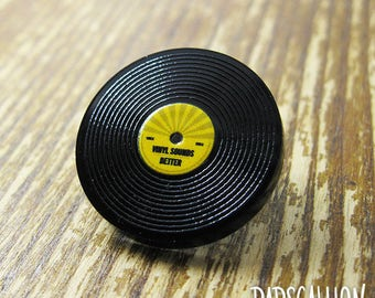 Vinyl Record LP Acrylic Lapel Pin