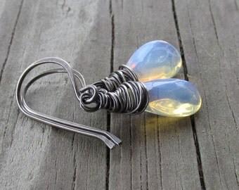 Oxidized Sterling Silver Opalite Earrings, Wire Wrapped Glass Opal Briolettes on Handmade Classic Hooks, Glowing Sea Opal Jewelry