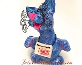 Cat Sculpture Polymer Blue with I Heart U Sign Painted Whimsical Made to Order CTP0006