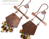 Hammered Rustic Copper Earrings - Tribal E1000