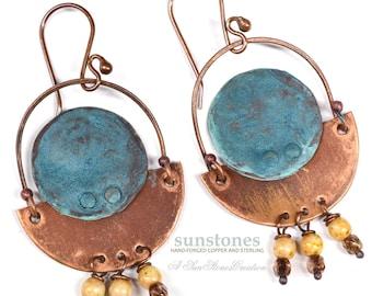 Rustic Copper Earrings  E987