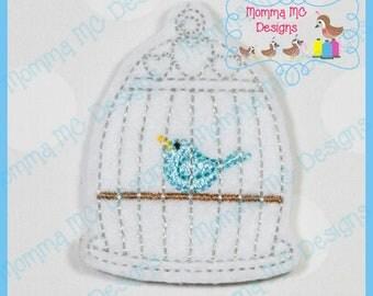 Bird Cage Felt Feltie Embroidery Design