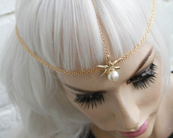 Mermaid Starfish Pearl Shell beaded Head Chain Headband