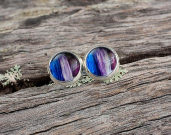 Hand painted purple and blue stud earrings