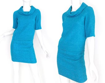 Sz 0 60s Turquoise Wool Bouclé Cowl Neck Top + Pencil Skirt Set - Vintage Women's Jackie Kennedy Style 2 Piece Mod Mini Dress - Skirt Suit