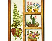 Vintage Shadow Box Crewel Kit – Stamped Plant / Flower Pattern - 70s Bucilla Pretty Planters Embroidery Kit - Gift for Mom
