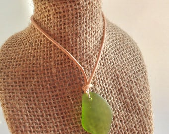 Minimalist adjustable sea glass necklace ~ leather beach glass necklace ~ cultured recycled beach glass jewelry ~ bohemian necklace ~ unisex