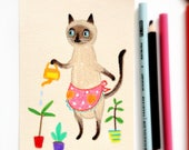 Siamese Cat Gardener ORIGINAL Drawing Colored Pencil Sketch Siamese cat watering plants cute illustration by Tascha