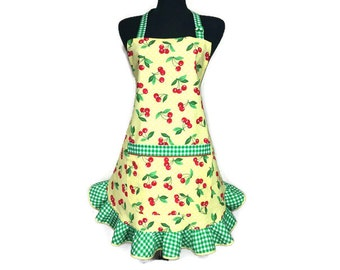 Retro Style Cherry Apron for women , Red Cherries on Yellow Polka Dot , Pin up Girl / Rockabilly kitchen decor / Adjustable Flirty apron
