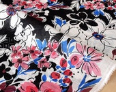 Japanese Fabric painted floral linen voile - black, pink, red, blue - 50cm