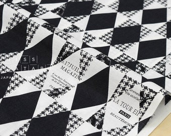 Japanese Fabric Yuwa Suzuko Koseki Diamond Pattern - black, white - fat quarter