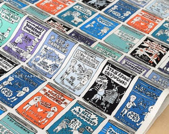 Japanese Fabric Kinnikuman cans - blue, mint, orange - fat quarter