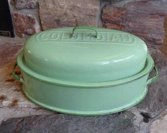 Vintage Used Columbian Green Enamel Covered Roaster Roasting Pan