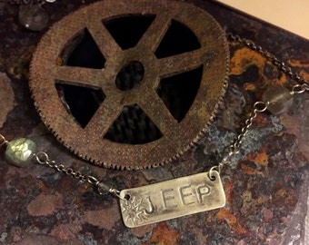 Hand stamped JEEP necklace with faceted Labradorite, made in the USA