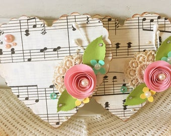 Vintage Music Paper Lace Heart Shabby Pink Handmade Paper Rose Flower Embellishments set of 2