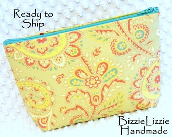 Handmade Cosmetic Bag, Large Poetry Fabric Zipper Pouch, Flat Bottom Cosmetic Pouch, Shabby Cottage Chic Purse Organizer