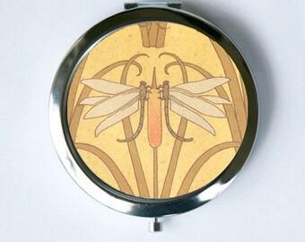 Art Nouveau Dragon Flies Compact Mirror Pocket Mirror design Pattern