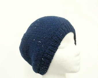 Blue knit beanie hat sparkle royal blue  5253