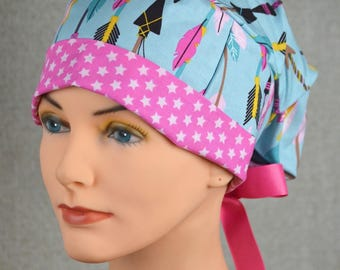 Small Scrub Hats for Women with RIBBON TIES  - Lucky Arrows