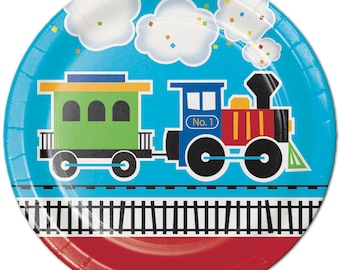 All Aboard Train Luncheon Plates-Set of 8-NEW-9 in. round