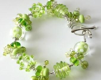 Lampwork Bracelet, Lime Green, Polka Dots, Swirls, Crystals, Pearls, Silver Bracelet, OOAK, Beaded Jewelry, Beaded Bracelet, Splash of Lime