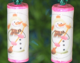 Holiday Pink Snowmen Paper Bead and Crystal Lightweight Dangle Earrings