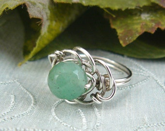 Faceted Green Aventurine Wire Wrapped Sterling Silver Bead Ring  Size 6 3/4