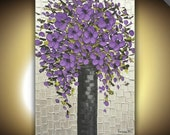 Original large abstract contemporary fine art- purple flowers silver or champagne gold modern palette knife impasto on canvas painting 36x24