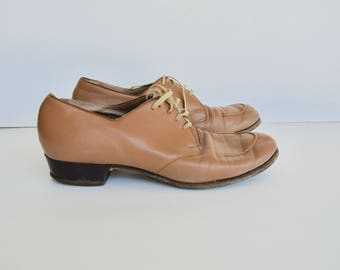 1940s Granny OXFORD beige shoes 7