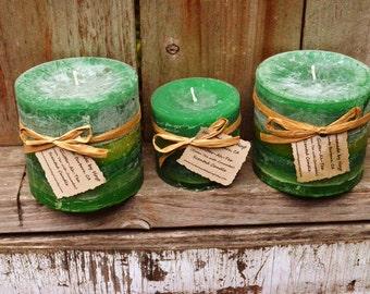 SALE: Set of Three Glitter-ah-tea (Green Tea) Scented Round Pillar Candles
