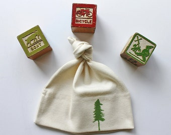 Organic Cotton Infant Hat with a tree or star design- Block printed in Seattle