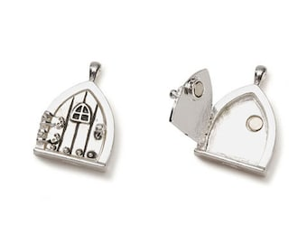 "FAIRY DOOR pendant wish door opens antiqued silver tone 1.25"" magnet close Triangle shape"
