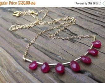 AAA+ Genuine Ruby drops - goldfilled necklace- handmade designer unique peace -
