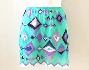 Vintage Pucci Slip Emilio Pucci for Formfit Rogers Nylon Lingerie Mod Retro Geometric Diamonds Made in Italy