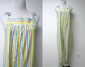 Laura Ashley . 80s 90s multicolor striped jumpsuit . size 10 . made in Wales, England